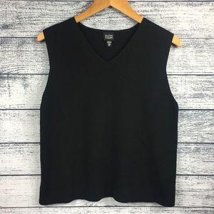 Eileen Fisher Wool V-Neck Tank Top Black Sweater